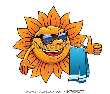Foto stock: Luz · do · sol · sorridente · sol · óculos · de · sol · paisagem