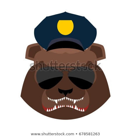 Colère ours police cap agressif grizzly Photo stock © popaukropa