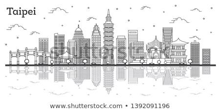 Taipei city skyline panorama black and white Stock photo © oliverfoerstner