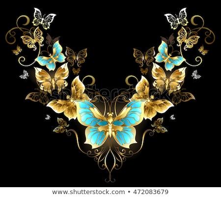 Szimmetrikus minta arany pillangók arany ékszerek Stock fotó © blackmoon979