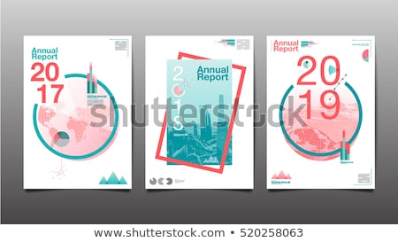 2017 business leaflet or brochure template design with blue arro Stock photo © SArts