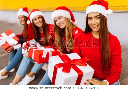 sweet woman wearing santa claus clothes Stock photo © ssuaphoto