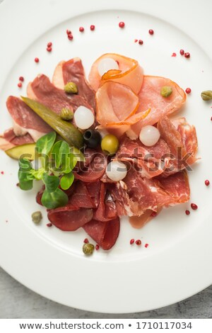 Platter of Cantaloupe Melon Parma Ham Mozzarella Cheese and Peac Stock photo © monkey_business