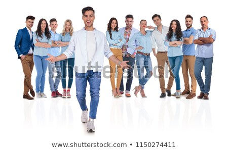 full body picture of a young casual woman welcoming you  Stock photo © feedough