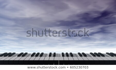 piano keyboard in front of dark blue sky - 3d illustration Stock photo © drizzd