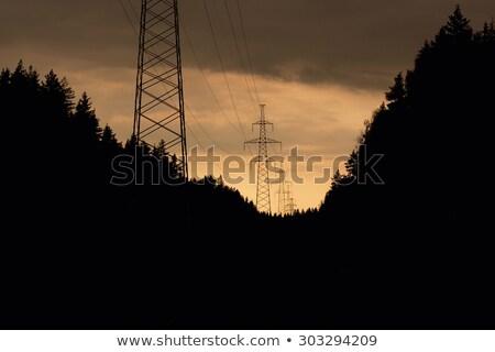 eletricidade · pôr · do · sol · laranja · céu · ambiental · dano - foto stock © hamik