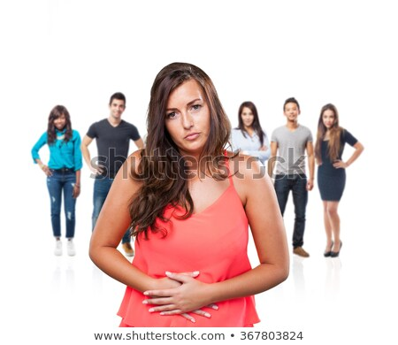 Group of young women with hands on stomach having bad aches pain  Stock photo © ichiosea