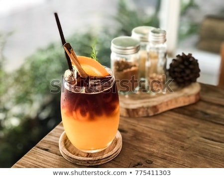 Freddo caffè arancione legno rustico legno Foto d'archivio © Yatsenko