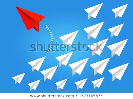 ベクトル スタイル 実例 航空機 孤立した 青 ストックフォト © curiosity