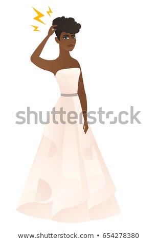 Verloofde bliksem hoofd witte jurk permanente Stockfoto © RAStudio