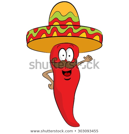 Red Pepper Cartoon Character with Moustache Stock photo © Krisdog
