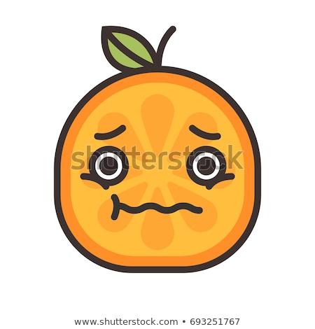 Emoji - worry orange with drop of sweat. Isolated vector. Stock photo © RAStudio