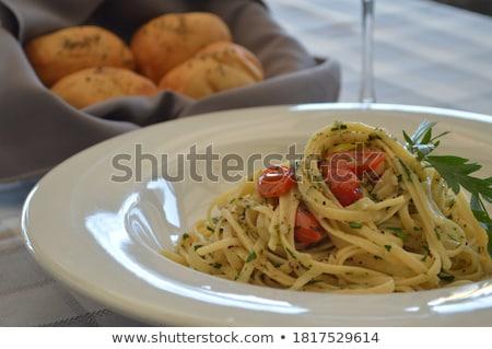 Stockfoto: Pasta · tomatensaus · parmezaan · kaas · lunch · maaltijd