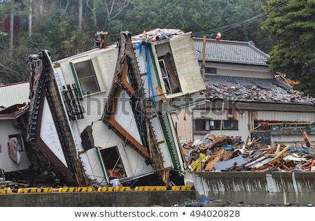 日本 地震 ひびの入った レンガの壁 フラグ アジア ストックフォト © leedsn