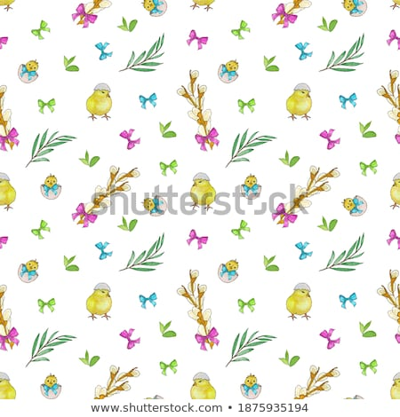 Easter holiday symbols colored egg, branch of willow, blue bow, flower of violet Stock photo © orensila