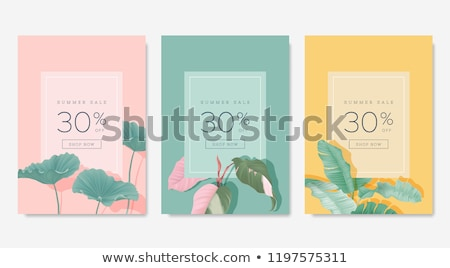Illustration Sale Poster With Leaves Stock photo © cammep