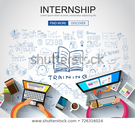 Internship concept with Business Doodle design style: online for Stock photo © DavidArts