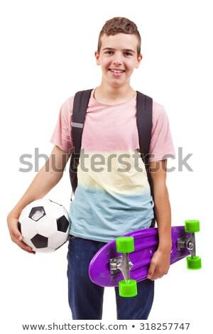 Iskolás fiú táska izolált fotó 11 éves iskolás fiú Stock fotó © RTimages
