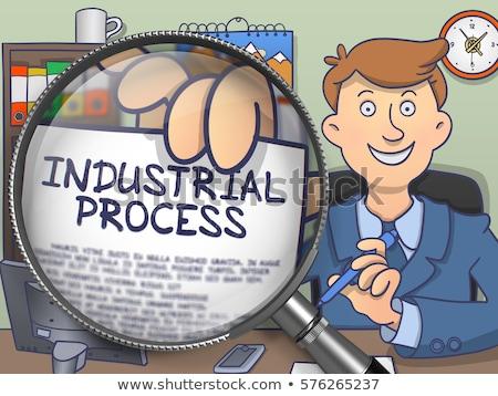 Processo fabrico lupa rabisco homem de negócios terno Foto stock © tashatuvango