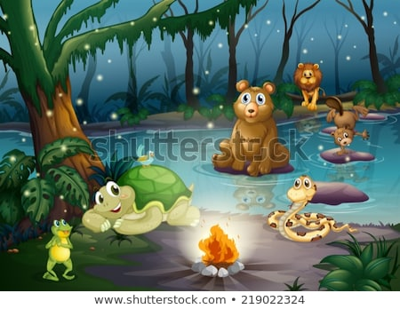 scene with many animals in forest stock photo © bluering