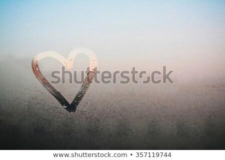 сердце окрашенный дождливый окна капли воды Сток-фото © romvo