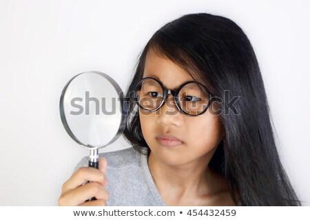 женщину · белый · очки · голову · Плечи · красивой - Сток-фото © is2
