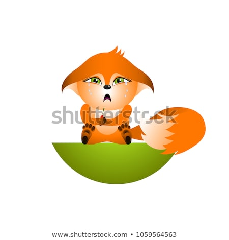 Cute · Cartoon · Fox · сидят · улыбка · собака - Сток-фото © olkita