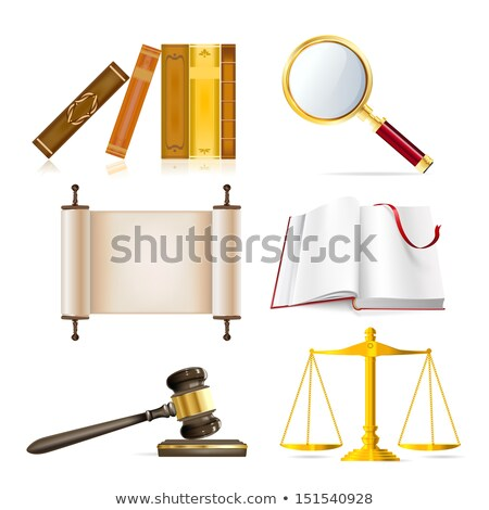 Stock fotó: Law Justice And Order Realistic Icons Set