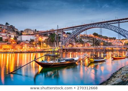 Stockfoto: Nacht · Portugal · mooie · oude · binnenstad · water
