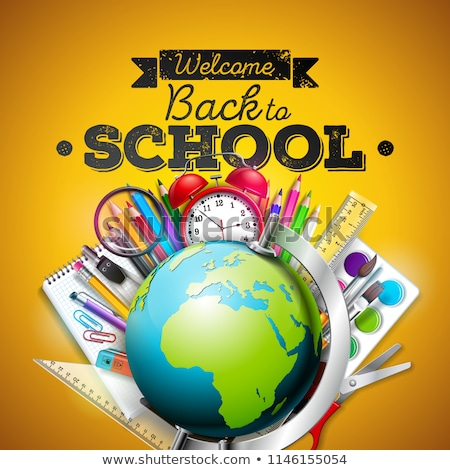 Back to school design with colorful pencil, eraser and other school items on wood texture background stock photo © articular