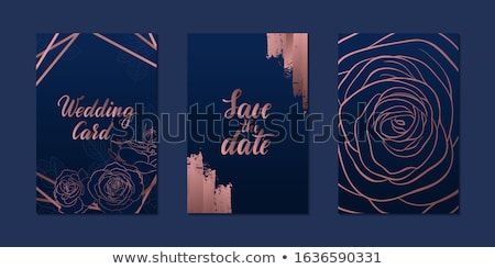 greeting card with blue outline roses on the navy blue stock photo © tasipas