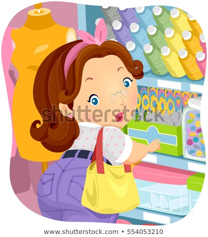 Girl Big Lady Shop Sewing Notions Stock photo © lenm
