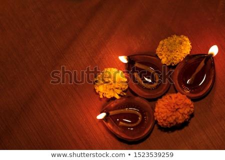 beautiful diwali festival greeting with flat diya shape Stock photo © SArts