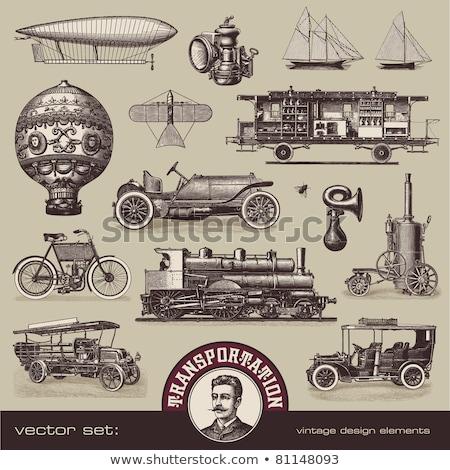 vector illustration of vintage means of transportation stock photo © dejanj01