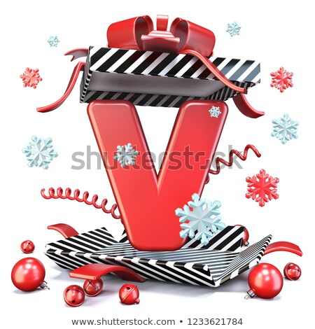 Red Christmas ball with ribbon and bow on white background. Vector illustration. Stock photo © fresh_5265954