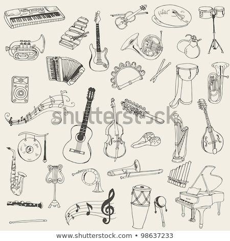 Musical rajz stílus gitár hegedű zene Stock fotó © Natali_Brill