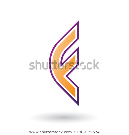 Orange Letter F Icon with Round Corners and Outer Stripes Stock photo © cidepix
