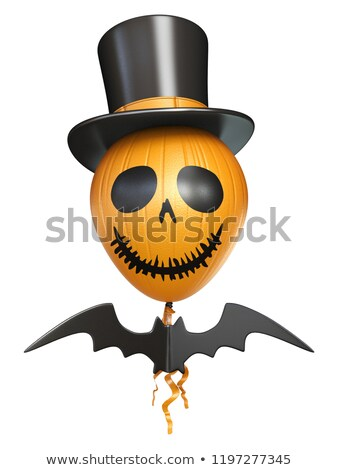 Scary balloon head with hat and bat for Halloween 3D Stock photo © djmilic