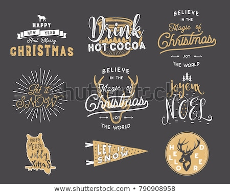 big merry christmas typography quotes wishes bundle sunbursts ribbon and xmas noel elements icon stock photo © jeksongraphics