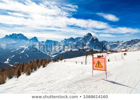 warning sing on ski slope stock photo © bsani