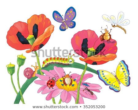 Dormir cartoon libellule illustration animaux souriant Photo stock © cthoman