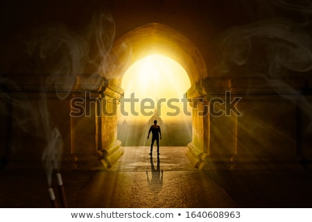 Buddha inside temple in old building Stock photo © cozyta