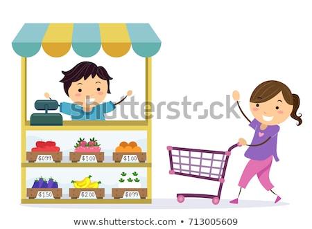 gyerekek · elad · limonádé · áll · ház · mosoly - stock fotó © lenm
