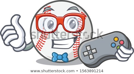Smiling Softball Cartoon Mascot Character Holding A Sign Stock photo © hittoon