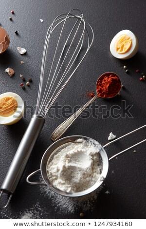 сырой · яйца · ложку · мучной · белый - Сток-фото © artjazz