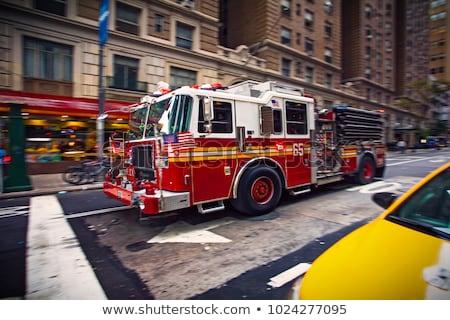 Nowy Jork strażak ciężarówka Manhattan street view ulicy Zdjęcia stock © boggy