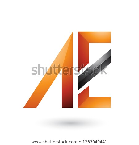 Orange and Black Geometrical Dual Letters of A and E Vector Illu Stock photo © cidepix
