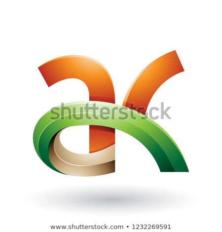 Orange and Green 3d Bold Curvy Letter A and K Vector Illustratio Stock photo © cidepix