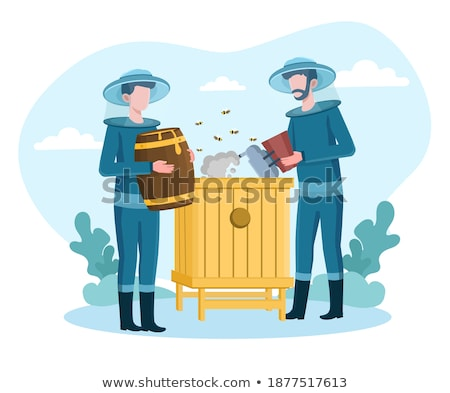 Stock photo: Two bees flying around beehive