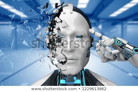 Robot Fragmented Head Futuristic Room Networks Stock photo © limbi007